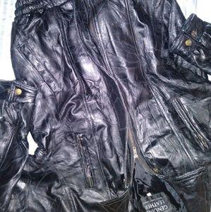 Navarre Leather Co. Mens Blk Leather Bomber Jacket